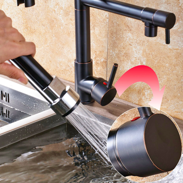 Chrome Spring Pull Down Kitchen Faucet Dual Spouts 360 Swivel Handheld Shower Kitchen Mixer Crane Hot Cold 2 Outlet Spring Taps 6