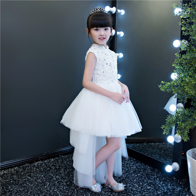 Luxury White Lace Sequin Flower Girls Wedding Dresses Elegant Formal Birthday Party Gowns Princess Gown First Communion Dress elegant flower lace lacut cut wedding invitations set blank ppaer printing invitation cards kit casamento convite pocket