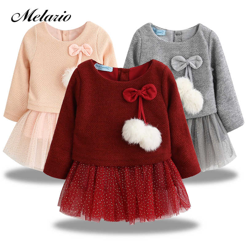 644b2ad27b5 2019 Autumn Winter Baby girls clothes long sleeve princess girls dress Ball  of yarn Kids Clothes