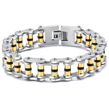 Granny Chic Mens Chain Gold-Color Stainless Steel Bracelet motorcycle Biker Fashion Jewelry 16mm 22cm