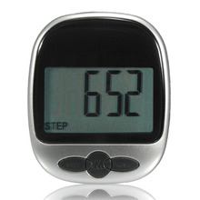 Black Fitness Equipment Exercise Pedometer Monitor Step Counter Diet Aid Walk Jog Run Timer Wide LCD display