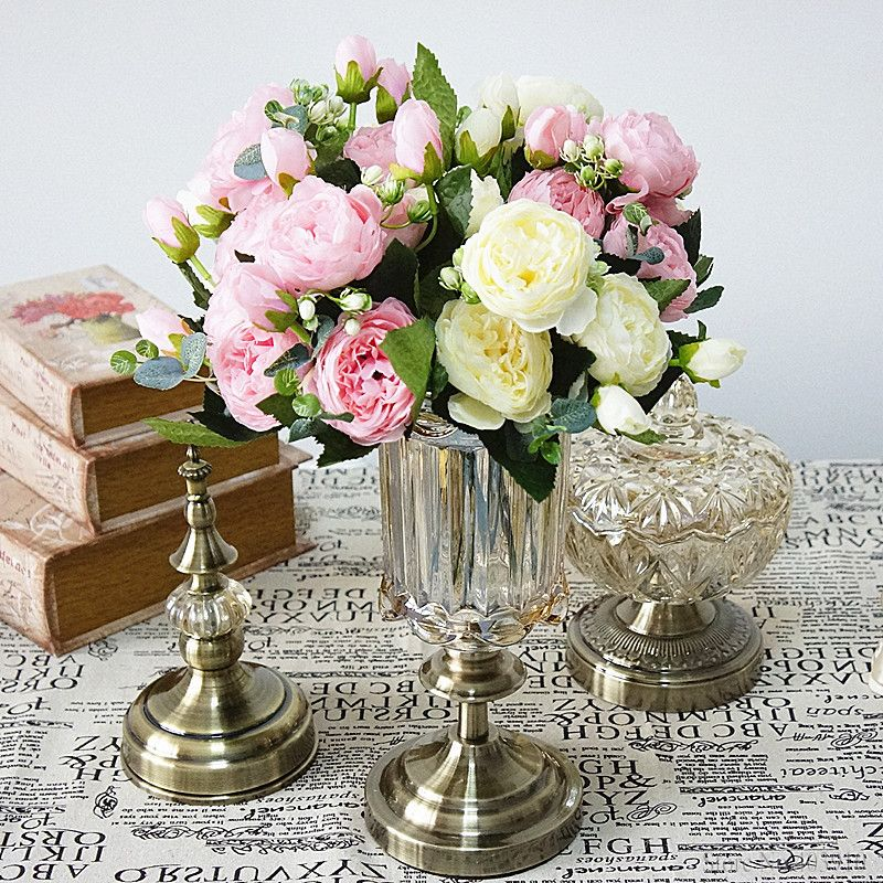 Silk Rose Peony Artificial Flowers Small Bouquet For Wedding Decoration 9