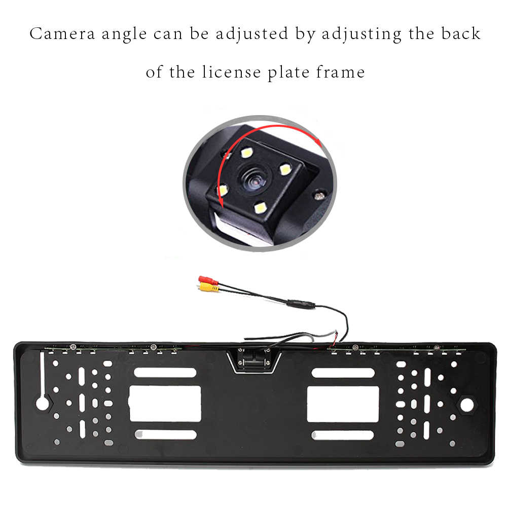 Podofo سيارة كاميرا الرؤية الخلفية مقاوم للماء الاتحاد الأوروبي إطار لوحة الرخصة Parktronic عكس 4 LED للرؤية الليلية كاميرا احتياطية