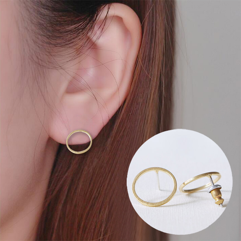 Shuangshuo 2020 Fashion New Multicolor Open Round Stud Earrings For Women Simple Geometric Circle Small Earrings Jewelry