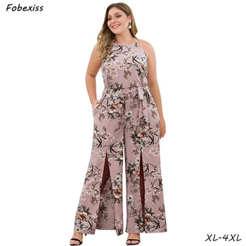 Jumpsuit Women Summer 2019 New Plus Size 4XL Overalls For Women Sleeveless Lace Up Sash Split Wide Leg Pink Print Long Jumpsuit