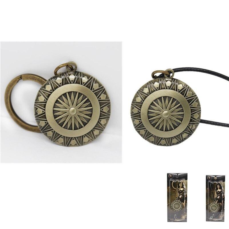Diana Prince Shield Weapon Pendant Keychain Necklace Halloween Superhero Cosplay Accessory Christmas Birthday Gift