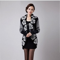 VANLED Autumn Flower Knitted Cashmere Cardigan Wome Warm Winter Sweaters Jacket Korean Long Loose Women S