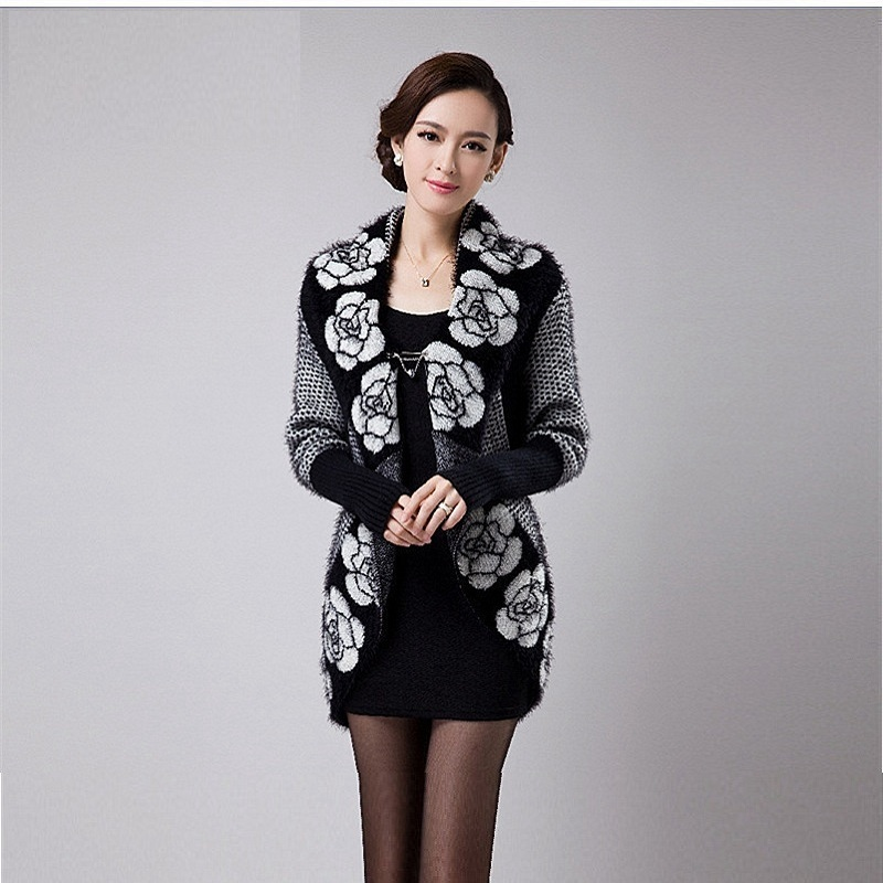 Autumn Flower Knitted Cashmere Cardigan Wome Warm Winter Sweaters Jacket Korean Long Loose Women S Sweater