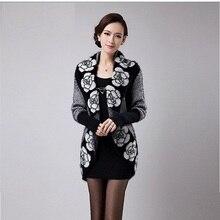 кардиган кардиганы осень цветок вязаный кашемировый кардиган женский теплые зимние свитера куртка корейский Длинные свободные женские Свитер