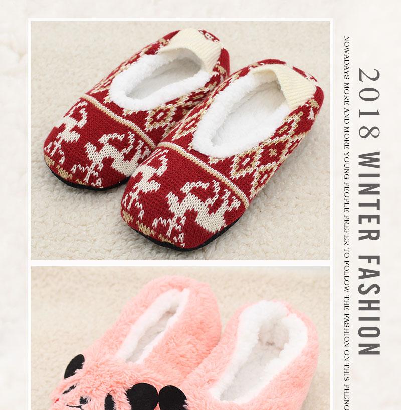 cartoon cute 18 Indoor Home Slippers Warm Soft Plush slippers Comfortable Indoor Fur Slippers Striped Cute Women Shoes 5