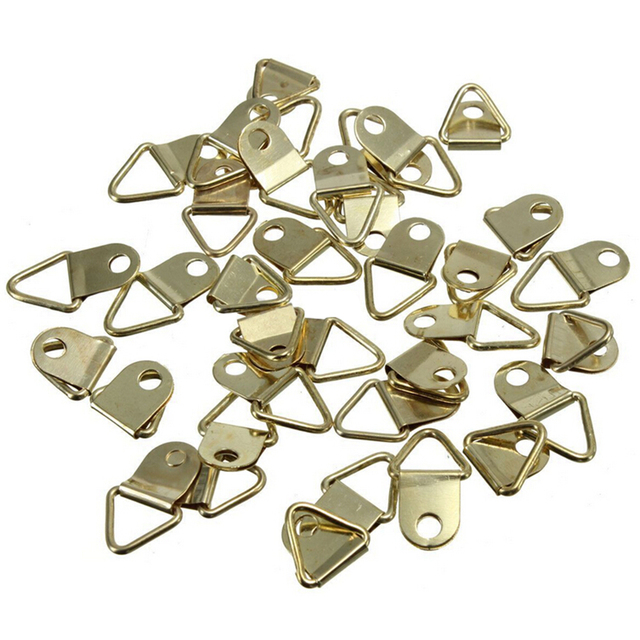 20Pcs Picture Hanger Photo Frame Hanging Triangle D Rings Golden ...