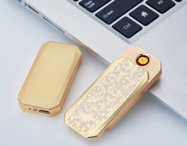 Creative Ultra-thin Safety and Environmental Protection USB Charging Electronic Cigarette Lighter