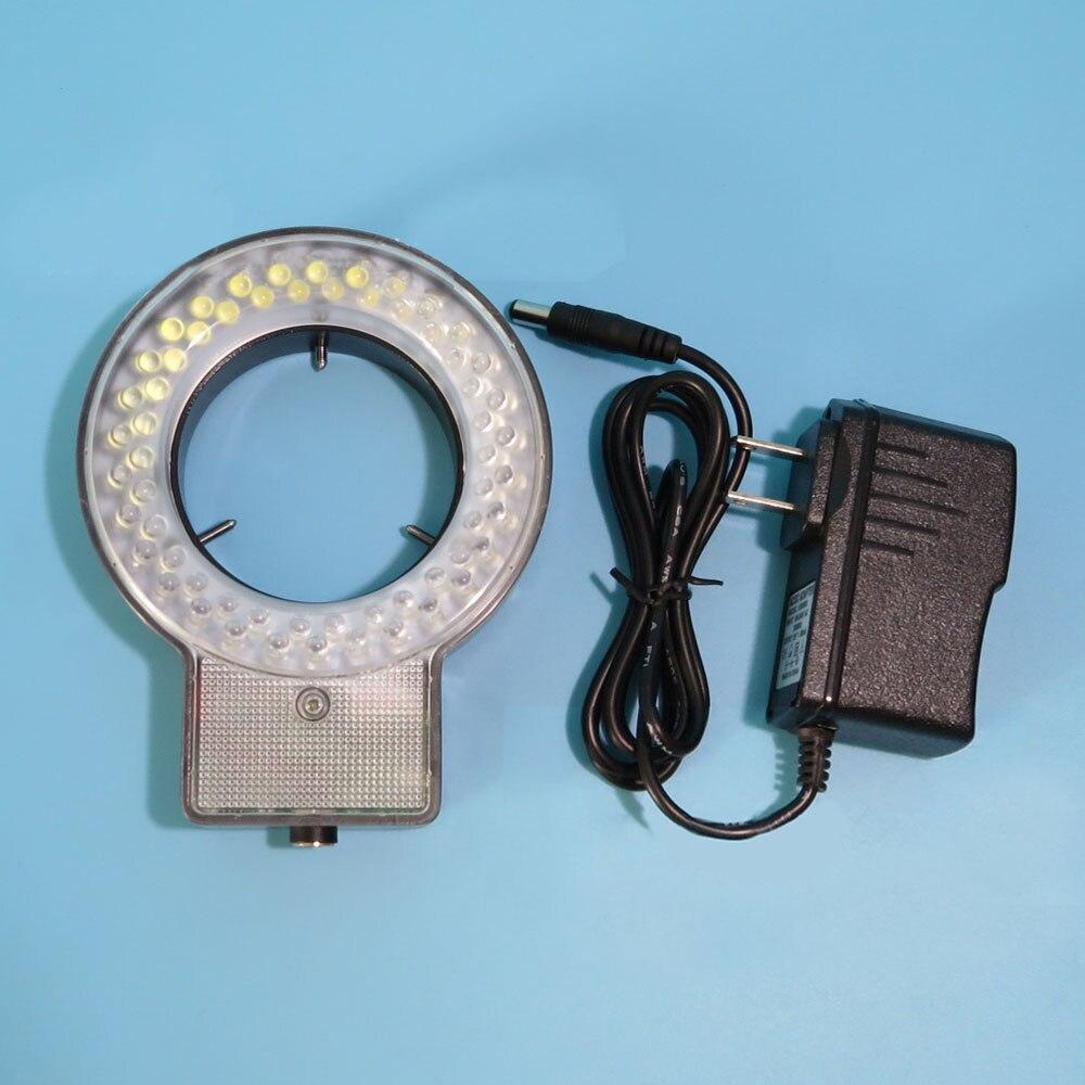 60LED 4 Sections Stereo Microscope 10 Degree Adjustable Brightness Illuminator Ring Lamp Light цена