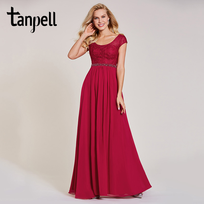 Tanpell long evening dresses burgundy scoop beaded cap sleeves a line floor length dress cheap women prom formal evening gown