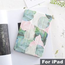 Literary Leaf Magnet Flip Cover For iPad Pro 9.7 11 Air 10.5 12.9  Mini 2 3 4 5 2019 Tablet Case cover for iPad 9.7 2017 2018 art painting magnet pu case flip cover for ipad pro 9 7 10 5 12 9 air air2 mini 1 2 3 4 tablet case for new ipad 9 7 2017 2018