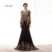 ZYLLGF Imported Evening Dress Fishtail O Neck Sheer Long Sleeves Evening Gown Appliques Beaded Party Gown Patterns ZL127