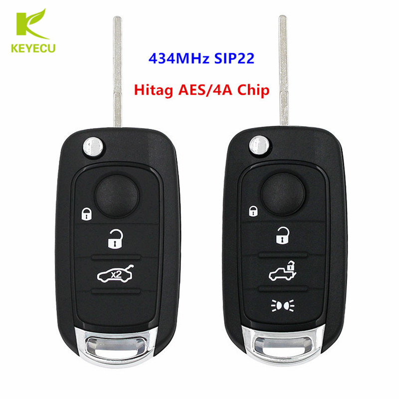 KEYECU Replacement Flip Remote Key fob 3 4 Buttons for optional 434MHz HITAG AES 4A Chip