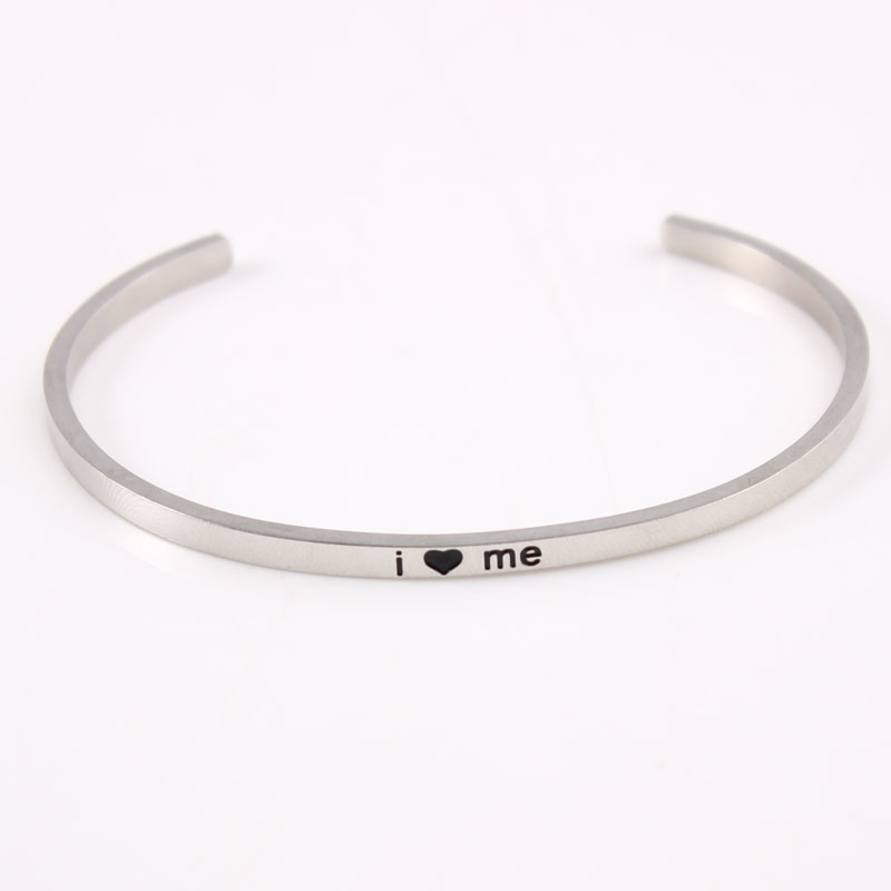 i love me Stainless Steel Engraved Positive Inspirational Quote Cuff bracelet silver Mantra Bangle