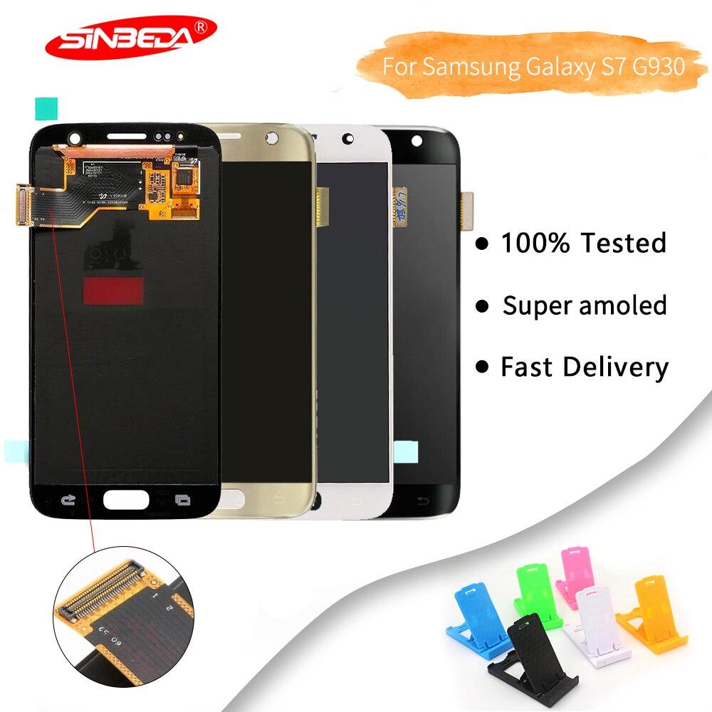 Sinbeda Marque Noir/Blanc/Or 5.1 pouces écran LCD en verre Pour Samsung Galaxy S7 G930 G930F LCD Tela avec ensemble de digitaliseur tactile