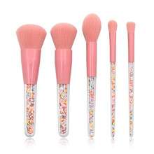 Get more info on the 5 Pcs Professional makeup brushes set Plastic Granule Transparent Handle Cosmetic Eye Shadow Foundation makeup brush set