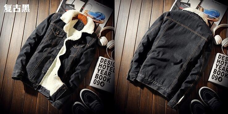 Men Jacket and Coat Trendy Warm Fleece Denim Jacket 2018 Winter Fashion Mens Jean Jacket Outwear Male Cowboy