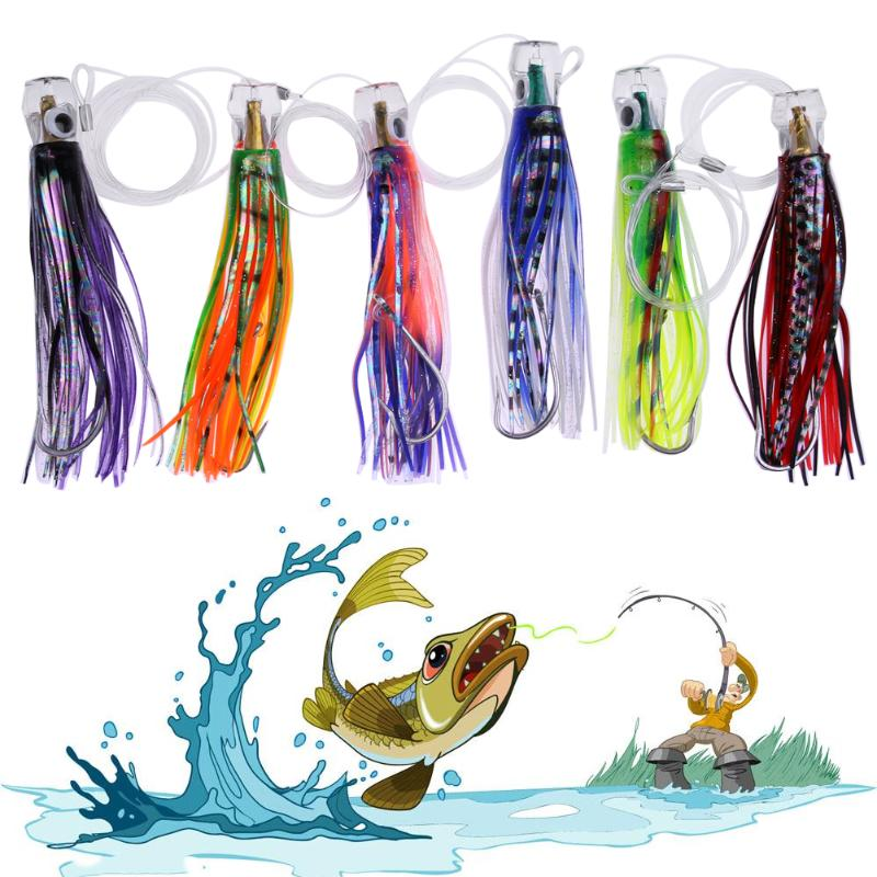 все цены на 6 Pusher Style Marlin Tuna Trolling Lures with Mesh Bag Resin Head Trolling Skirts Lure Big Game Trolling Fishing Bait Promotion
