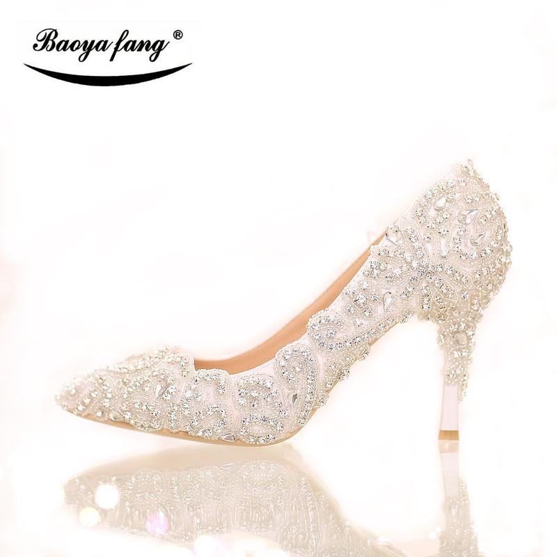 BaoYaFang Brand Luxury lace crystal Womens Wedding shoes Bride 7cm/9cm thin heel pointed toe Party dress shoes woman female shoe baoyafang luxury blue crystal womens wedding shoes bride high heels platform shoes woman party dress shoes female high pumps