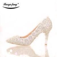 BaoYaFang Marque De Luxe dentelle cristal Femmes chaussures De Mariage Mariée 7 cm/9 cm talon mince bout pointu Partie robe chaussures femme femme chaussures