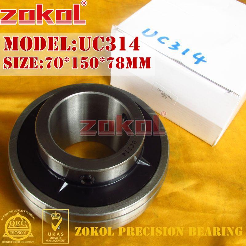 ZOKOL bearing UC314 90614 Pillow Block Ball Bearing 70*150*78mm zokol bearing uc209 suc209 90509 stainless steel pillow block ball bearing 45 85 49 2mm