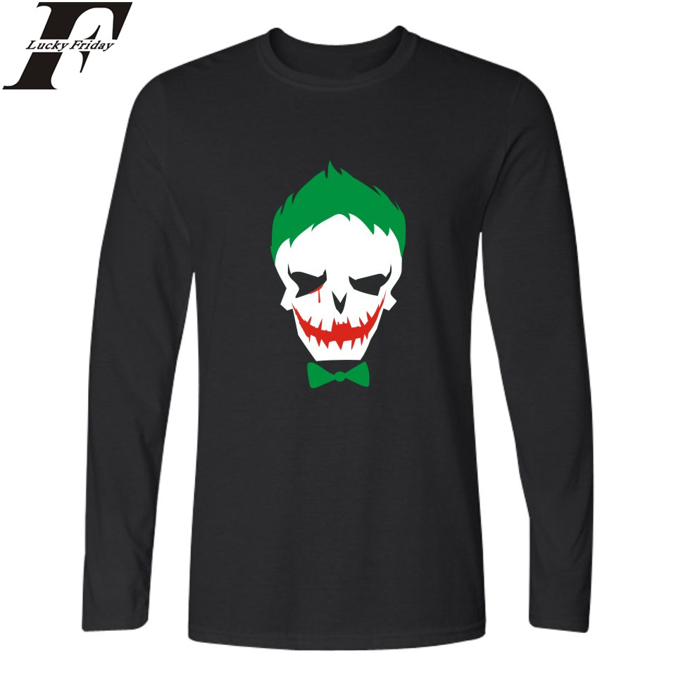 xingqiwu Store LUCKYFRIDAYF Hot Sale Suicide Squad Joker T-shirt Men Casual Cotton Long Sleeve TShirts and Harley Quinn Men TShirt  Tee Shirts