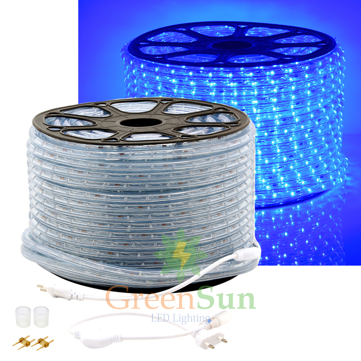 ФОТО Blue 20-50M M36 leds/m 2-Wire LED Strip Rope Light Home Garden Xmas Lamp 220V Waterproof IP68 LED Strip Light With Power line