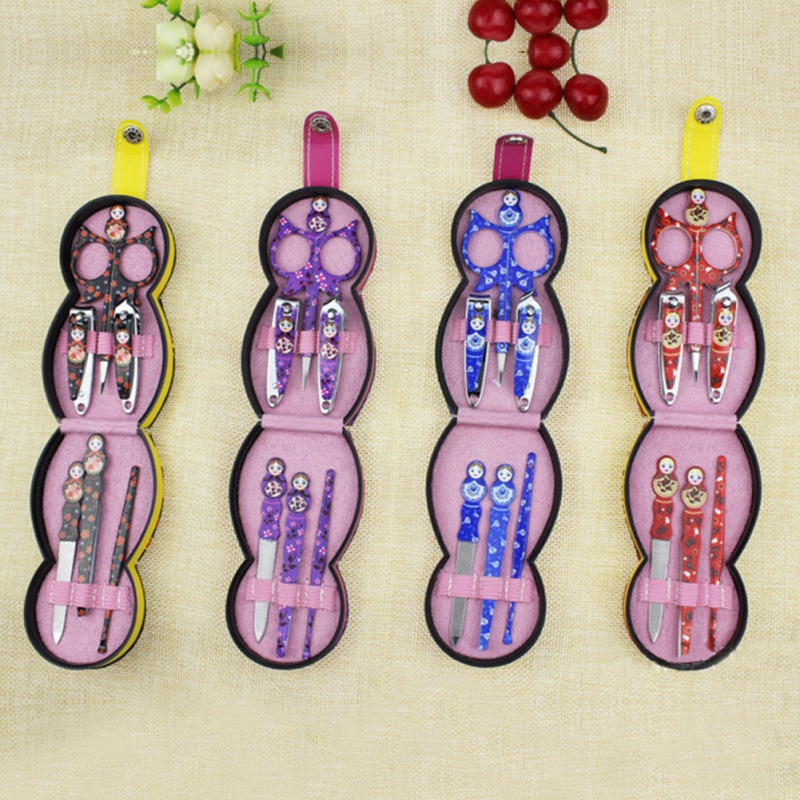 Russian Doll Manicure Tool Set Nail Clippers Eyebrow
