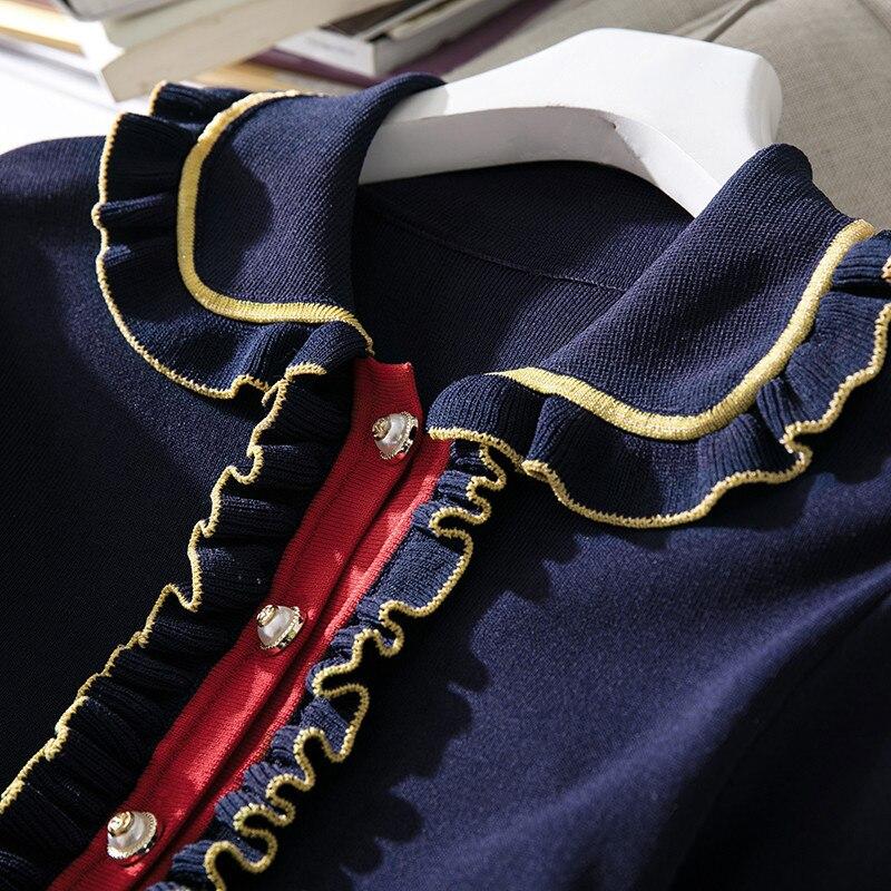 À Printemps Au Tricoté Marine De Bord Rayé Oreille Du Femmes Col Tricot Gros Longues Bleu Robes Robe Manches Poupée Début Nouveau 66EOxrU