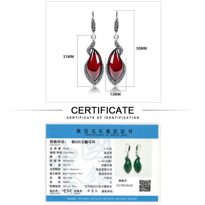 JIASHUNTAI Retro sidabro auskarai moterims 925 Sidabriniai raudoni - Brangūs papuošalai - Nuotrauka 6