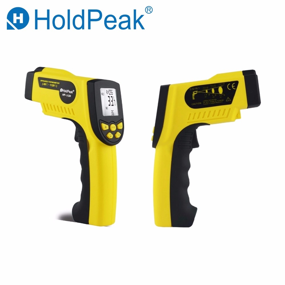 HoldPeak HP-1120 Digital Infrared Thermometer Non Contact Temperature Thermometer Gun Laser Termometro Pistola holdpeak hp 1320 digital laser infrared ir thermometer gun meter non contact 50 1500c temperature tester pyrometer