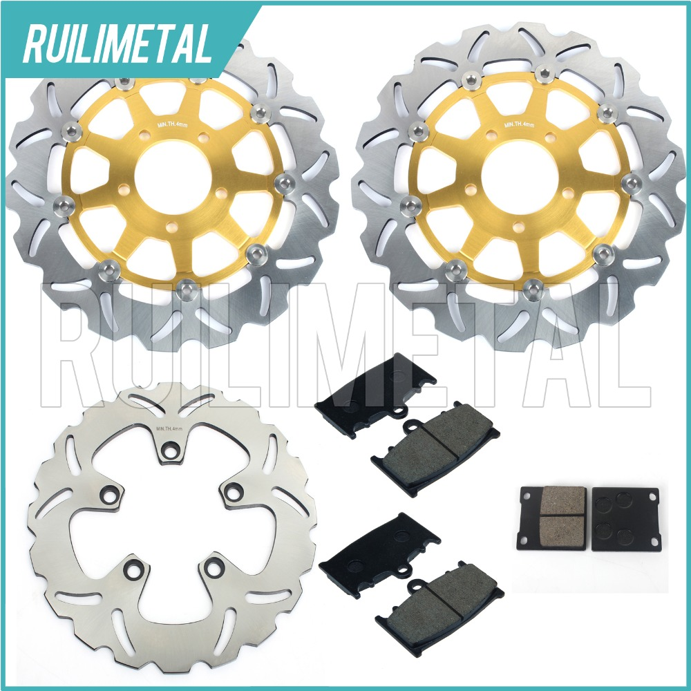 New Front Rear Brake Discs Rotors Pads Set for Suzuki GSXR 600 97 98 99 00 01 02 03 GSX-R 750 2000 K1 K2 K3 TL1000S 1997-2001 full set front rear brake discs disks rotors pads for suzuki gsxr 750 94 95 gsx r 1100 p r s t 1993 1994 1995 1996