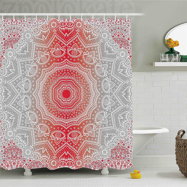 Grey And Red Shower Curtain Ethnic Eastern Cultural Folk Deity Mystic Boho Zen Ombre Mandala
