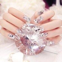 Лучшие 24 шт./компл. Модные Свадебные невесты накладные ногти Блестящий горный хрусталь женские поддельные ногти с клеем, стикер QQ99