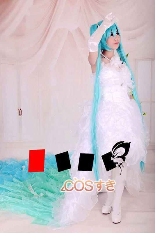 Vocaloid Hatsune Miku Devil Wedding Petal Dress Cosplay Costume ,Perfect customized for you!