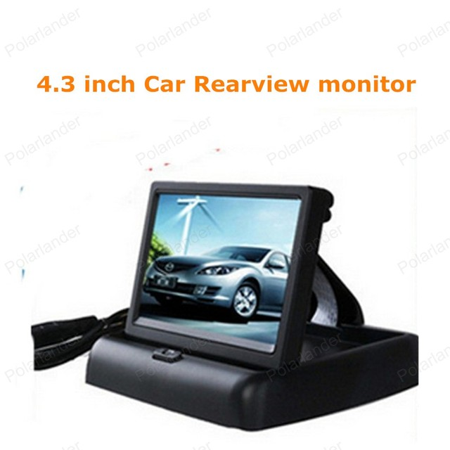 New Car Inverter monitor Retrovisor Dobrável display LCD 16:9 4.3 polegada carro Monitor para DVD Camera VCR 12 V