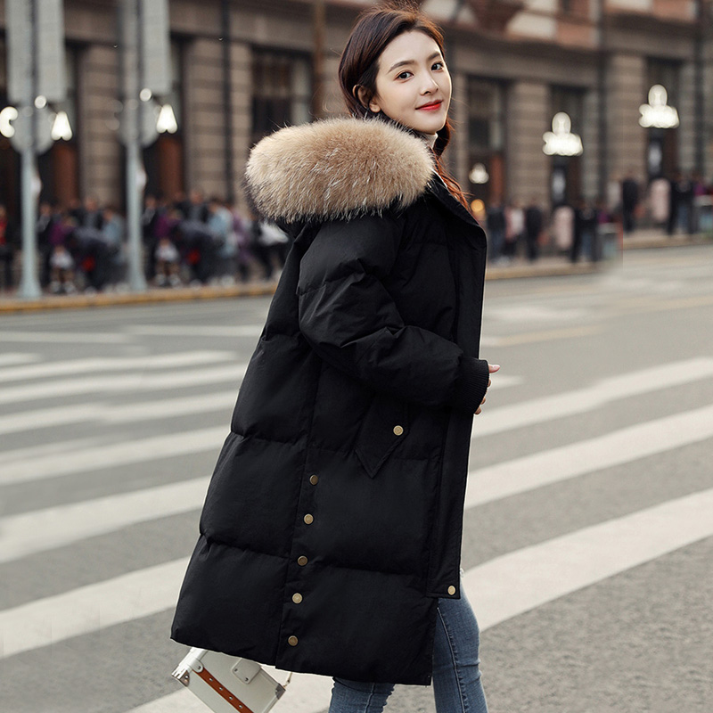 Large Real Raccoon Fur Winter Jacket Thicken Parka 2018 Winter Coat Women Parka Long Thick Slim Womens Coats And Jackets