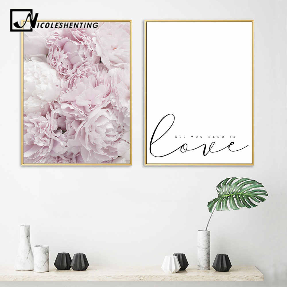 Scandinavian Peony Flower Wall Art Canvas Painting Minimalist Floral Nordic Posters and Prints Decoration Pictures Home Decor