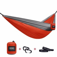 Gonex Double Adult Portable Camping Hammock with Strap&Carabiners Nylon Hammock for Outdoor Backpacking Travel Beach Backyard