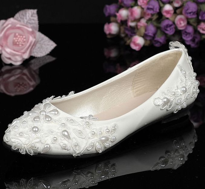 Flat lace wedding shoes woman white color lace with the ivory pearls bridal shoes female lady sweet plus size party lace flats extra large plus sizes 41 42 43 flats wedding lace shoes womens female woman bridal flat heel wedding flats shoes large sizes