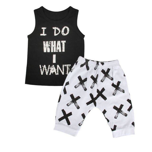 c3874dc70a5d Summer 2pcs Kids Baby Boy I Do Want Clothing Set Sleeveless T Shirt Tank  Tops Pants Letter Print Casual Toddler Outfits Set
