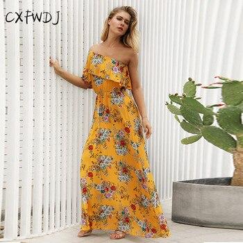 25ac8b88be4f26b Новинка 2018 года; летнее женское платье принцессы в деревенском стиле с  принтом; освежающее милое Повседневное платье в пол; цвет желтый