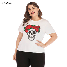PGSD Summer casual girl Tee Fashion Big size women clothes printing Pullover Short sleeve O-Neck Loose Plus T-shirt female 4XL