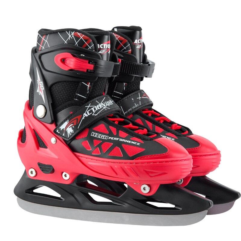 Patins à glace professionnels chaussures pour adulte enfant chaussures de patinage de vitesse courte/longue piste lame couteau chaussures de Hockey sur glace