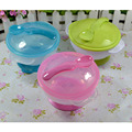 High Quality Baby Sucker Bowl Baby Antiskid Binaural Bowl With a Spoon and a Cover Baby Tableware Training Dishes 3 Color YY1124