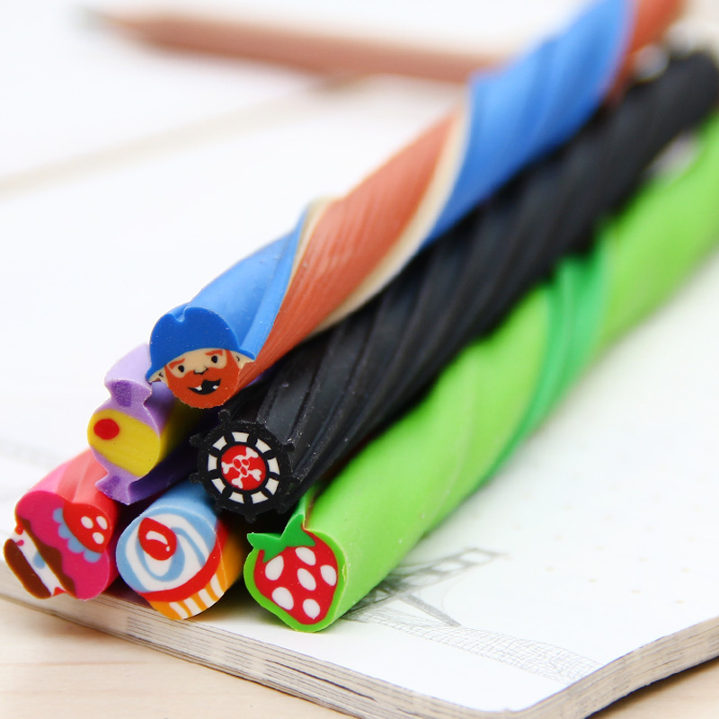 4 BOX Cute Long Color Fruit Rubber Kawaii Pencil Eraser Cartoon Cut into Pieces Correction School Supplies Stationery ...